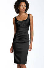 Suzi Chin Stretch Satin Sheath Dress Black 8P $118