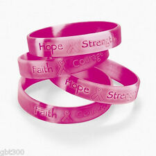 60 Pink Ribbon Camo Silicone Bracelets Lot Breast Cancer Awareness Favor