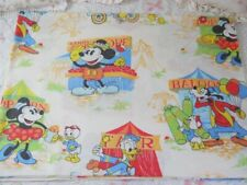 vtg Disney twin sheet Carnival Mickey Minnie Mouse Donald Goofy fabric