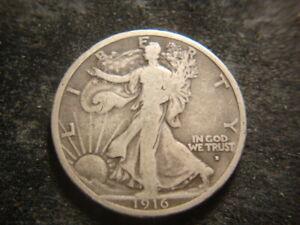 1916-D VG F BOLD Walking Liberty Half Dollar Nice T2X