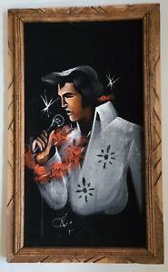 "Vintage Elvis Presley Black Velvet Painting Singing THE KING SIGNED 23"" x 14"""