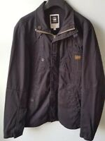 G-STAR RAW MENS LARGE RECOLITE LAUNDRY OVERSHIRT JACKET COAT ZIP POPPER BLACK