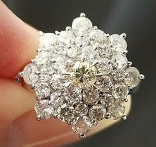 2TCW Custom Light Yellow White Diamond Flower Design Platinum Ring