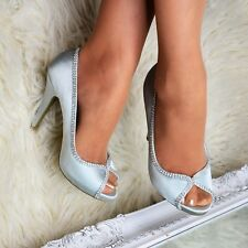 Ladies Satin Evening Shoes Peep toe diamante trim Party High Heel Bridal size