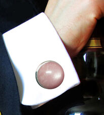 Cuff links With Pink Moonstone Classic Men's Elegant Natural Christmas  Gifts