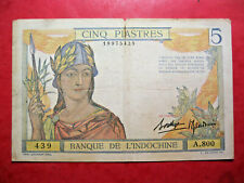 Indochine. Billet de 5 piastres. ND. 1936.
