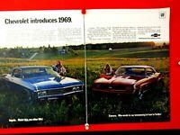 "1969 Camaro SS RS Chevrolet Impala Custom Coupe  Original Print Ad 8.5 x 11"""