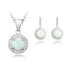 White Fire Opal Jewelry Sets Necklace Pendant Earring For Women Bridal TZOE138