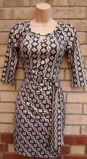 K&D BROWN GOLD WHITE BAROQUE BELTED SIDE CUT OUT FRONT BODYCON TUBE DRESS 8 S