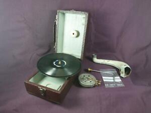 Antiguo Gramófono portatil-Vintage-NIKITO Polyglophone cursos fonobilingües CCC