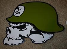 "METAL MULISHA Green Skull Helmet Skate Sticker 6"" motocross skateboard decal"