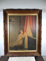 Vintage Child Praying Catholic Christian Print in Wood Frame