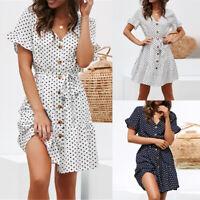 ️ Women's Polka Dot V Neck Ruffle Short Sleeve Short Mini Dress Summer Sundress