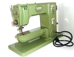Antique TURISSA Ultramatic ZIG-ZAG sewing machine very rare free arm green SWISS