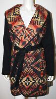 PENDLETON Gray Orange Gold Indian Blanket Wool Belted Wrap Jacket Coat NWT L 550