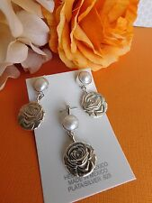pearl repousse pendant & earrings set Taxco Mexican Sterling silver 925 rose &