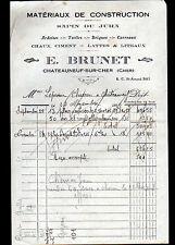 """CHATEAUNEUF-sur-CHER (18) BOIS & MATERIAUX DE CONSTRUCTION """"E. BRUNET"""" en 1926"""