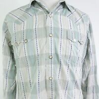 ROPER LONG SLEEVE PLAID STRIPED PEARL SNAP BUTTON UP WESTERN SHIRT MENS SIZE L