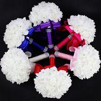 NEW Bridal Bouquet Wedding Handmade Rose Foam Crystal Diamante Bridesmaid Flower