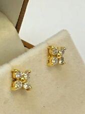 Beautiful 18ct Yellow Gold 0.35ct Diamond Flower Stud Earrings