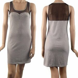 BONNIE SHEER PANEL JERSEY DRESS MISTY GREY WITH BLACK MESH PANEL