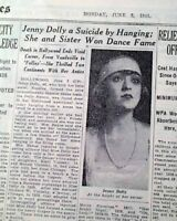 JENNY DOLLY Twin Sisters Dancers & Actress SUICIDE Hanging Death 1941 Newspaper