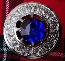 "Scozzese Kilt Fly Plaid Spilla Cardo Crest BLUE STONE finitura in argento 3""/L Donna"