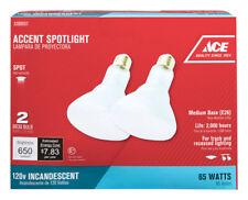 NEW! ACE Incandescent Light Bulb 65-Watts Spotlight BR30 Medium Base E26 2-Pack