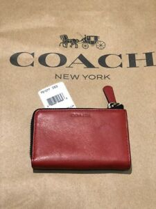 NWT) COACH 61077 BLEECKER LEGACY LEATHER ZIP KEYCASE / RED
