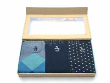 Original Penguin Men 7-12 Polka Dot Check Stripe Crew Dress Sock Gift Box 3 Pack