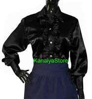 Black Satin Vintage Button Down Solid Collar RUFFLE Shirt Long Sleeve Blouse Top