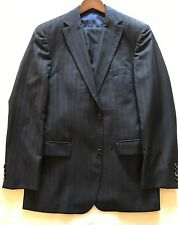 "$1500 Hugo Boss Navy Blue Pinstripe Suit 38R Jacket Trouser 34"" W 31 L selection"