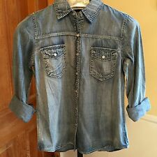 Hippie Laundry Chambray Blue Long Sleeve Button Down Shirt Top Sz M-NWT'S