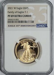 2021-W $25 1/2 oz Type-1 Proof American Gold Eagle NGC PF-69 Ultra Cameo Gem AGE
