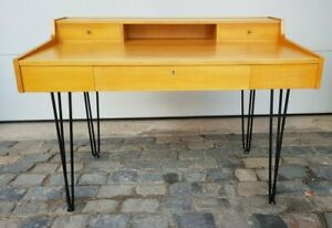 Schreibtisch Frisiertisch stylish mid century Hairpin-Legs Kirsche hell 50er