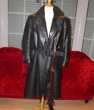 Ledermantel leather coat Trenchcoat WW2 Wehrmacht Offizier military vintage L/XL