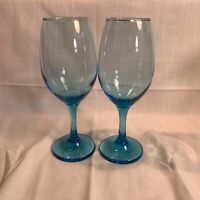 "Set of 2 Light Blue 8 1/8"" Goblets Wine Water Glasses Teardrop"