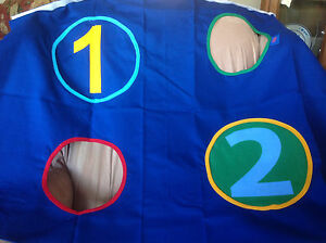 FLEXA PLAY CURTAIN-GAME-NUMBERS & HOLES- BLUE -1 GREEN PANEL-3PC SET