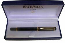 WATERMAN  MAN 200 BLACK FOUNTAIN PEN 18K GOLD FINE PT  IN BOX  **