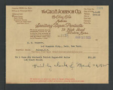 1925 THE GEO T JOHNSON CO { SANITARY PAPER PROD } BOSTON MASS ANTIQUE BILLHEAD