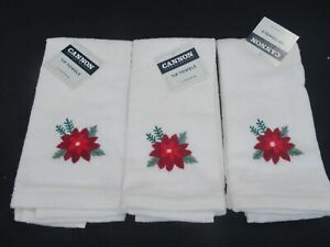 New Vintage Set of 3 Holiday Christmas Finger Tip Towel Poinsettia Hand Wash Rag