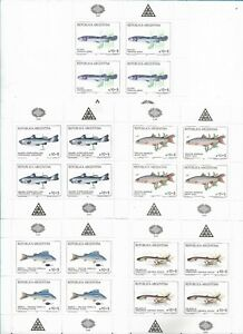 ARGENTINA 1989 FISH 5 SOUVENIR SHEETS BLOCK OF 4 SCOTT B137/41 MI 1972/6 MNH