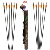 Archery 12X Carbon Shafts Arrows & Quiver Gift For Compound Recurve Bow Hunting