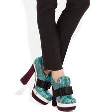 Miu Miu Turquesa Snake Print Cuero Plataforma Zapatos Botas Uk 2 de la UE 35 Us 5