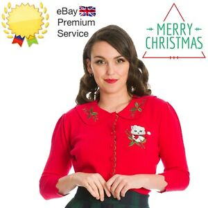 Banned Apparel Merry Catmas Scalloped Knit Christmas Xmas Red Cardigan Size 6-20