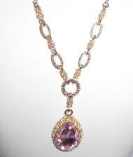 Statement Necklace Rhinestone Crystal Pink Gold Tone Shiny Pendant Costume CHIC