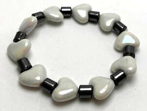 1pc Charm Pearl Love Heart & Metallic Tube Plastic Elastic Bracelet Valentine
