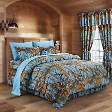 FULL POWDER BLUE CAMO COMFORTER BED SPREAD ONLY CAMOUFLAGE BLANKET BEDDING 86x94