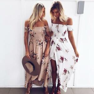 UK Women's Floral Summer Long Maxi Dress Off Shoulder Boho Sundress