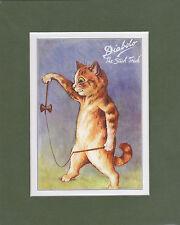 MOUNTED LOUIS WAIN CAT PRINT  -  DIABOLO  -  THE  STICK  TRICK